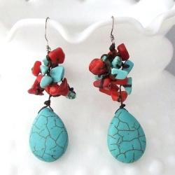 Handmade Turquoise and Coral Dangling Teardrop Earrings (Thailand)