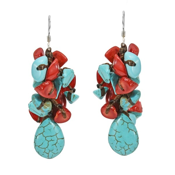 Handmade Teardrop Turquoise Synthetic Coral 925 Silver Drop Earrings (Thailand)