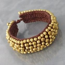 Round Brass Beads Golden Mosaic Cotton Rope Bracelet (Thailand)