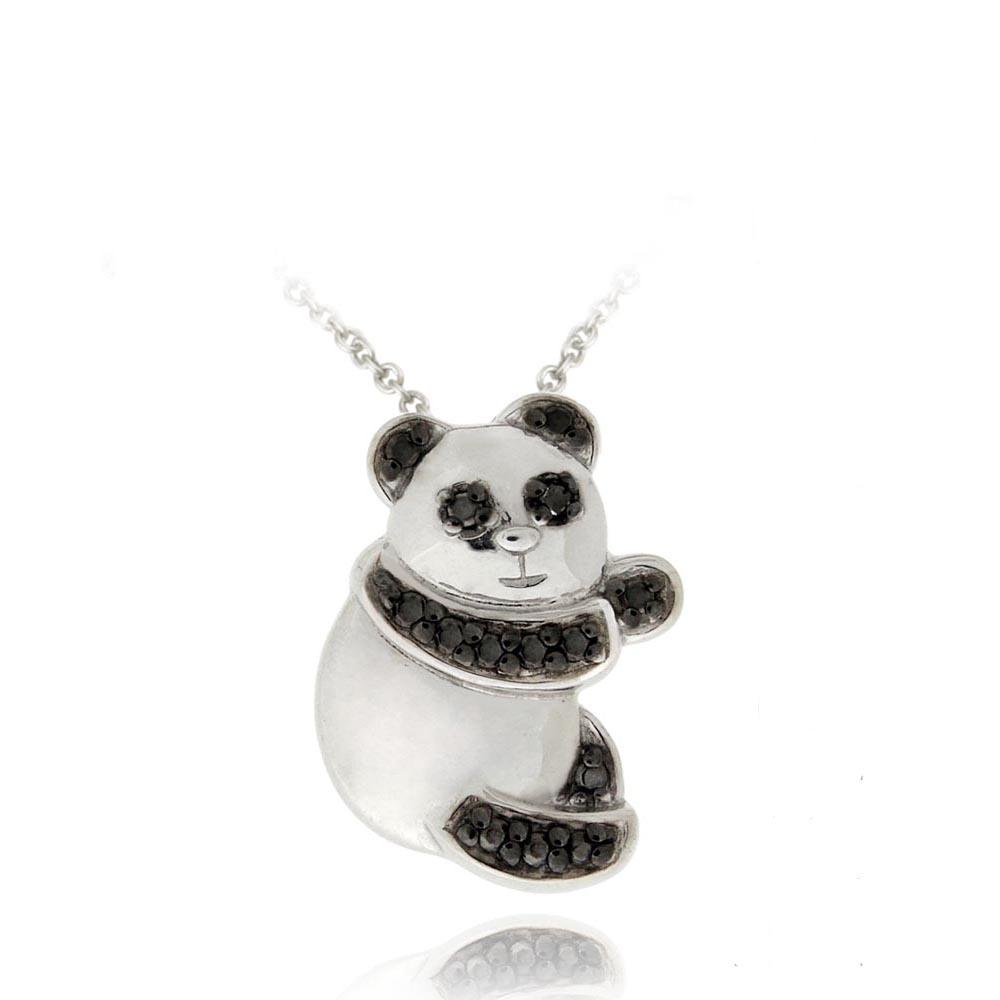 DB Designs Sterling Silver Black Diamond Accent Panda Necklace