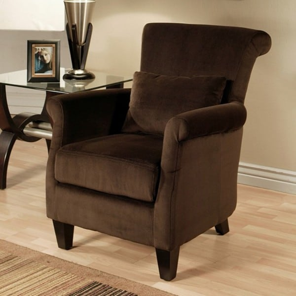abbyson living milano dark brown microsuede armchair free shipping