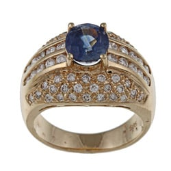 Kabella 14k Yellow Gold Blue Sapphire and 1ct TDW Diamond Ring (G-H, SI1-SI2)