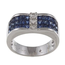 Kabella 18k White Gold 1/5ct TDW Diamond and Blue Sapphire Ring (H-I, I1-I2)