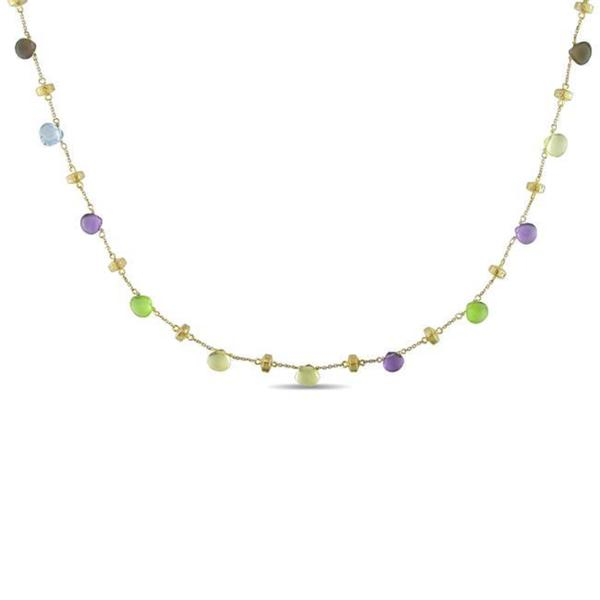 Miadora Signature Collection 14k Yellow Gold Multi-Color Gemstone Necklace