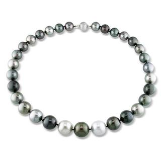 Miadora Signature Collection 14k Gold Black Tahitian Pearl and Diamond Accent Necklace (13-16 mm) - 13-16 mm