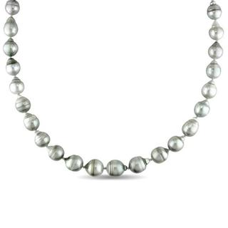 Miadora Signature Collection 14k Gold Black Tahitian Pearl and Diamond Accent Necklace (8-11 mm)