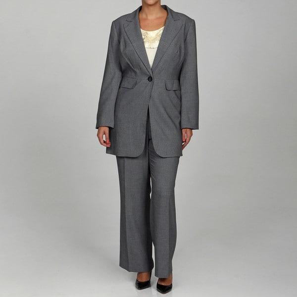 Calvin Klein Women's Black/ Cream 2-piece Pant Suit