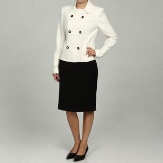 Calvin Klein Women's Cream/ Black 2-piece Skirt Suit