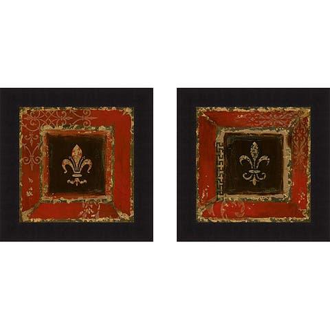 Tava Studios 'Fleur de Lis I & II' Framed Print - Burgundy