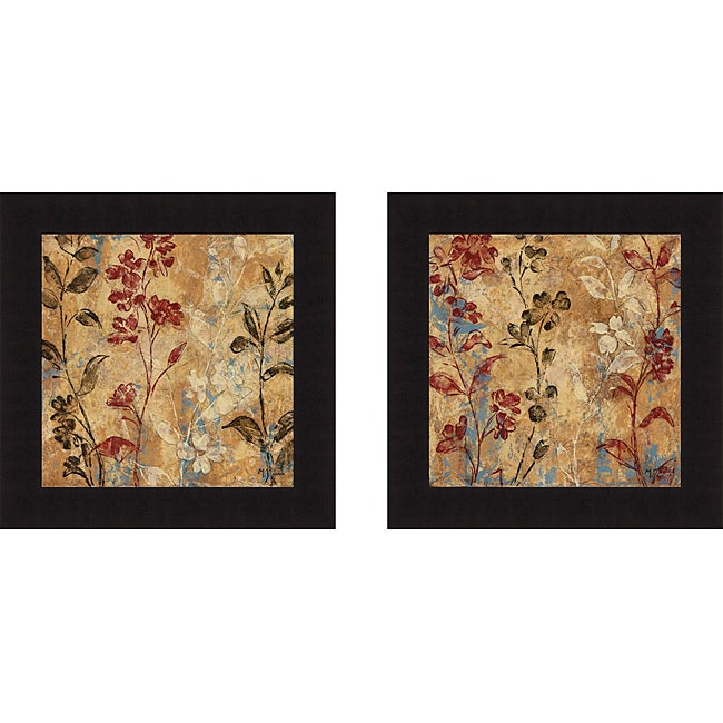 Maria Donovan 'Flowers And Honey I & Flowers And Honey II' Framed Print