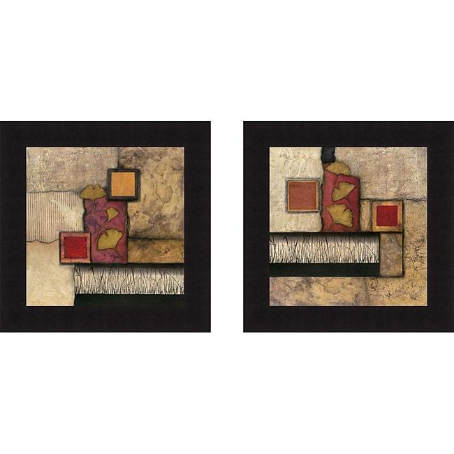 Norm Olson 'Autumn Ginkgo I & II' Framed Print Art