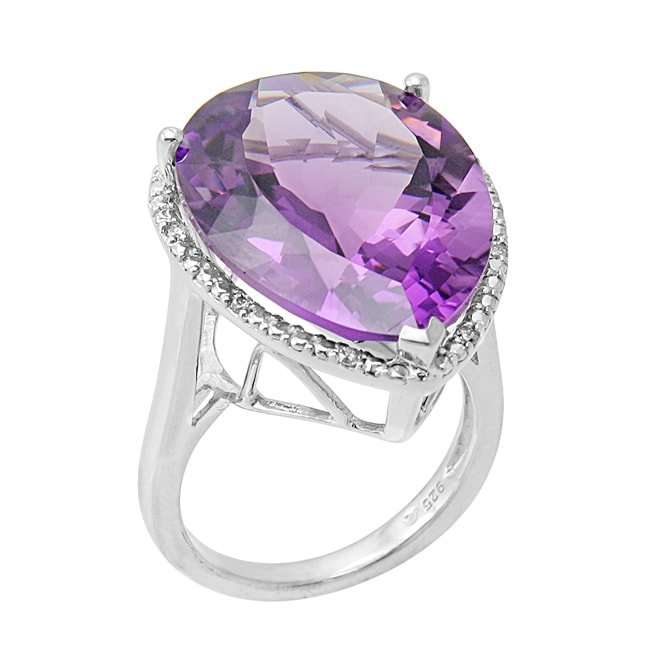 Contessa Hollywood Retro Platinum/ Silver Amethyst and 1/10ct TDW Diamond Ring (I-J, I1-I2)