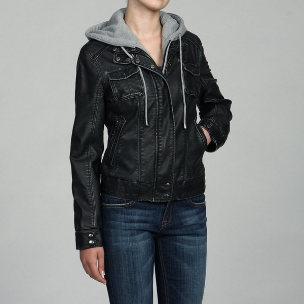 Collezione Women&39s Black Faux Leather Zip-out Fleece Hoodie Jacket