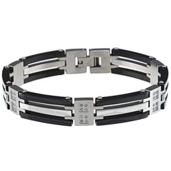 Stainless Steel Men's 1/4ct TDW Diamond Bracelet (GH I2-I3)
