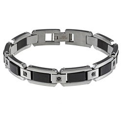 Stainless Steel Men's 1/2ct TDW Black Diamond Bracelet