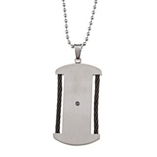 Stainless Steel 1/20 ct TDW Black Diamond Dog Tag Necklace