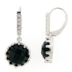 Meredith Leigh Sterling Silver Onyx and White Topaz Earrings
