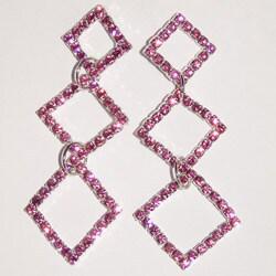 Detti Originals Brass Triple-diamond Pink Crystal Earrings