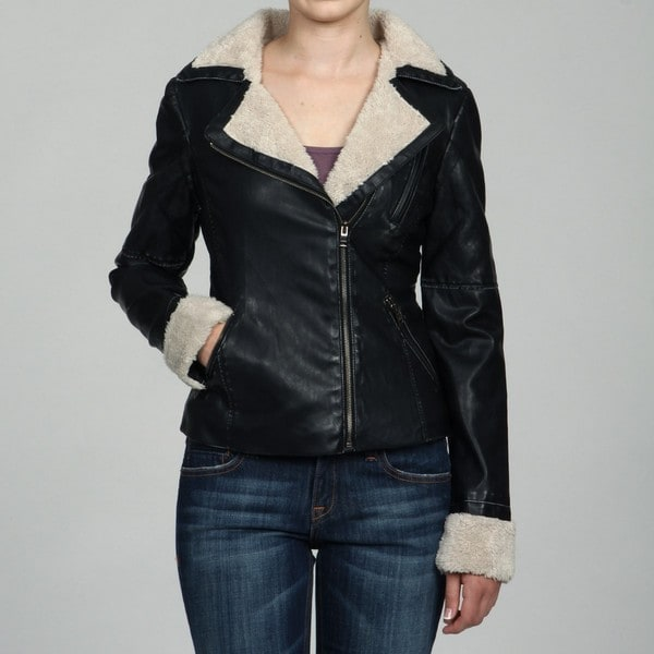 Collezione Women's Plus Size Leather Faux Shearling Moto Jacket