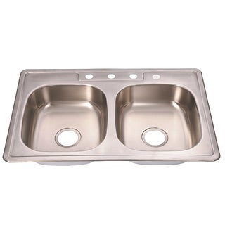 Fine Fixtures Top Mount Stainless Steel Equal Double Bowl Kitchen Sink