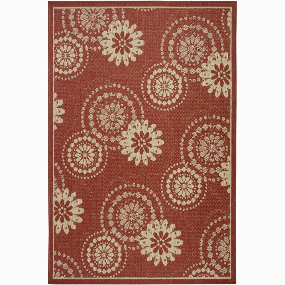 Artist's Loom Indoor/Outdoor Transitional Floral Rug - 5' x 8'