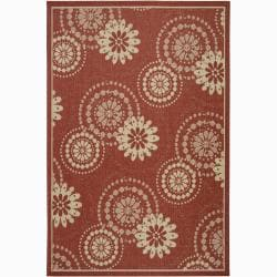 Artist's Loom Indoor/Outdoor Transitional Floral Rug (5' x 8') - 5' x 8' - Thumbnail 0