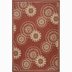 Artist's Loom Indoor/Outdoor Transitional Floral Rug (5' x 8') - 5' x 8'