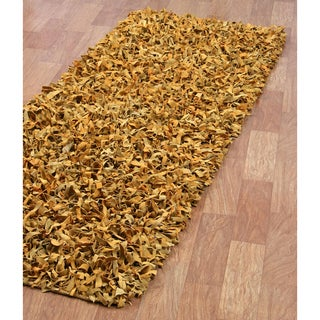 """Hand-tied Pelle Gold Leather Shag Rug (2' 6 x 12') - 2'6"""" x 12'"""