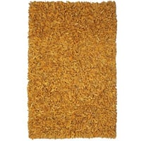 Hand-tied Pelle Gold Leather Shag Rug (8' x 10') - 8' x 10'