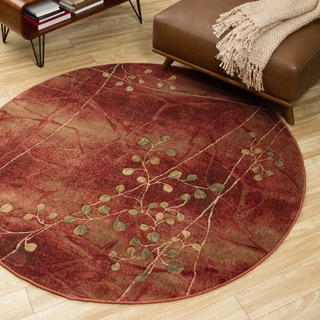 Nourison Somerset Flame Red Floral Rug (5'6 Round)