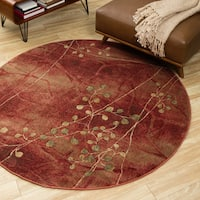 Oliver & James Anish Red Floral Round Area Rug (5'6) - 5'6
