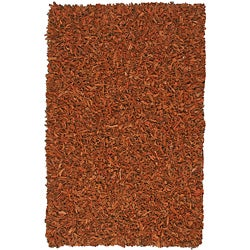 Hand-tied Pelle Copper Leather Shag Rug (5' x 8')