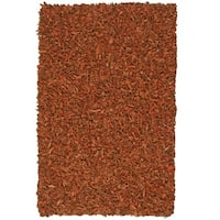 Hand-tied Pelle Copper Leather Shag Rug (5' x 8') - 5' x 8'