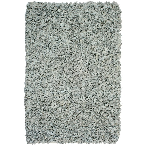 Hand-tied Pelle Off-white Leather Shag Rug - 5' x 8'
