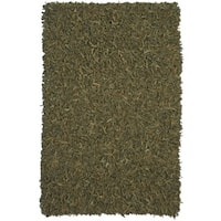 Hand-tied Pelle Green Leather Shag Rug (5' x 8') - 5' x 8'