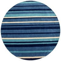 Hand-tufted Blue Cosmo Striped Wool Rug (8' x 8') - 8' x 8'
