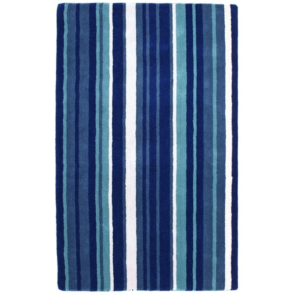 Hand-tufted Blue Cosmo Striped Wool Rug (8' x 10')