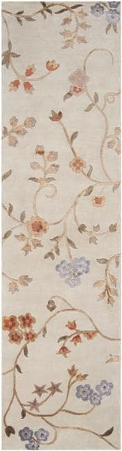 Hand-knotted Tan Floral Whitehall Semi-Worsted New Zealand Wool Rug (9' x 13')