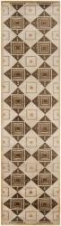 Hand-knotted Beige Contemporary Geometric Square Rochelle Wool Rug (2'6 x10')