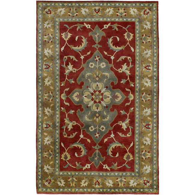 Hand-knotted Dahlia Wool Rug (9' x 13')