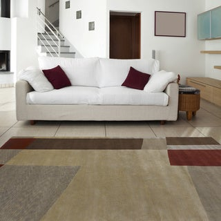 Hand-knotted Brown Contemporary Thornbury Wool Abstract Rug (8' x 11')