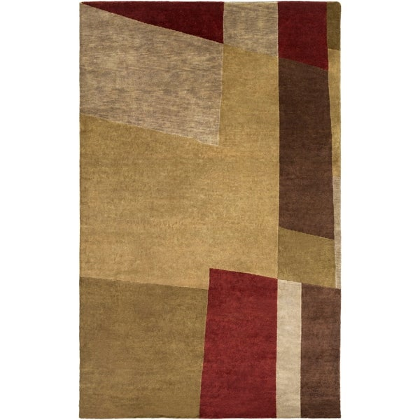 Hand-knotted Brown Contemporary Thornbury Wool Abstract Area Rug - 8' x 11'
