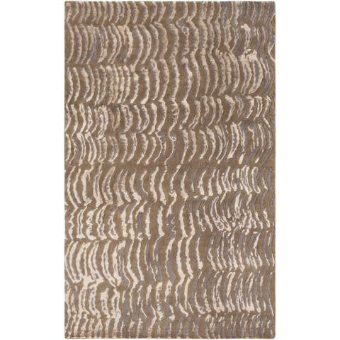 Hand-knotted Clermont Abstract Design Wool Area Rug - 4' x 6'