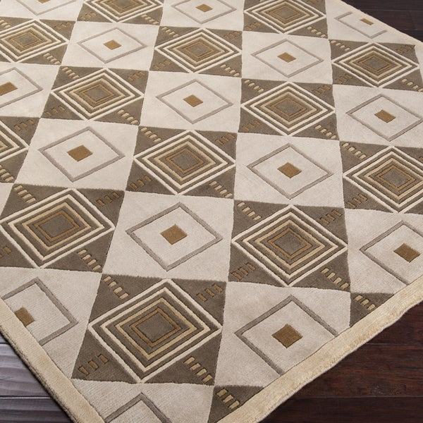 Hand-knotted Beige Contemporary Geometric Square Rochelle Wool Rug (5' x 8')