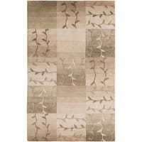 Hand-knotted Green Floral Tudor New Zealand Wool Area Rug - 9' x 13'