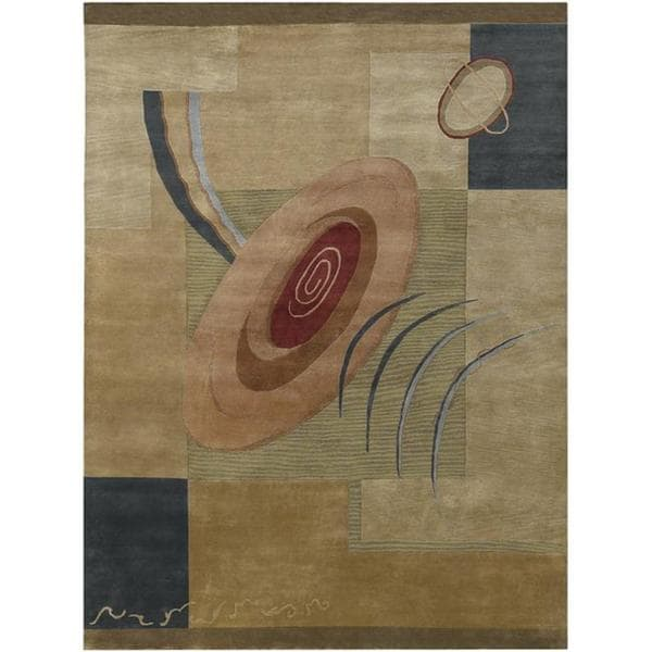 Hand-knotted Brown Contemporary Darien Wool Abstract Rug (9' x 13')