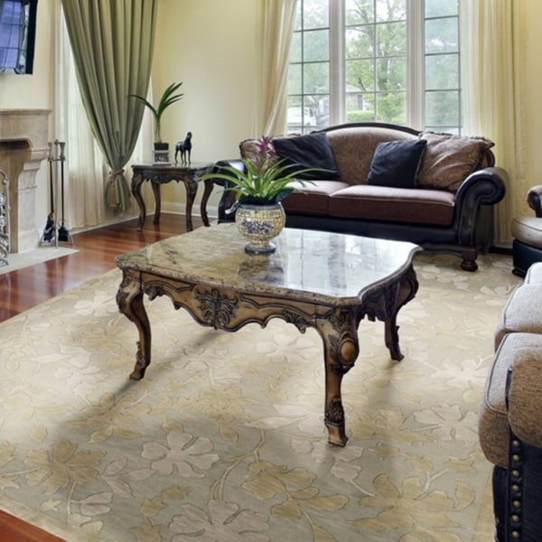 Hand-knotted Moss Green Floral Sovereign Semi-Worsted Wool Area Rug - 9' x 13'