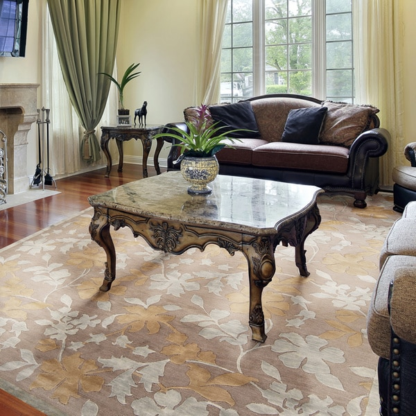 Hand-knotted Grey Floral Palo Semi-Worsted New Zealand Wool Rug (9' x 13')