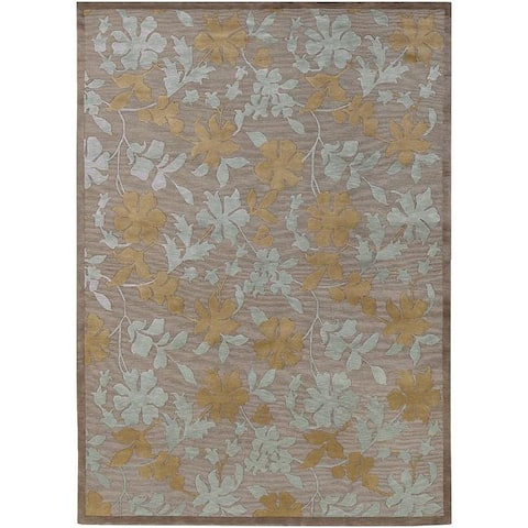 Hand-knotted Grey Floral Palo Semi-Worsted New Zealand Wool Area Rug - 9' x 13'