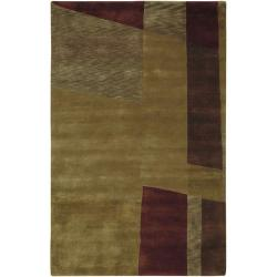 Hand-knotted Brown Contemporary Thornbury Wool Abstract Rug (5' x 8')